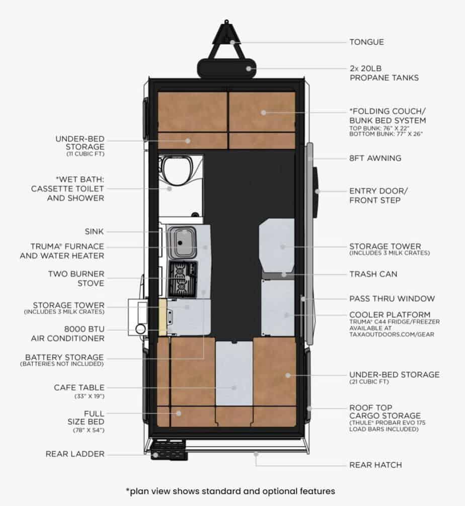 taxa mantis rugged lightweight camper floor plan
