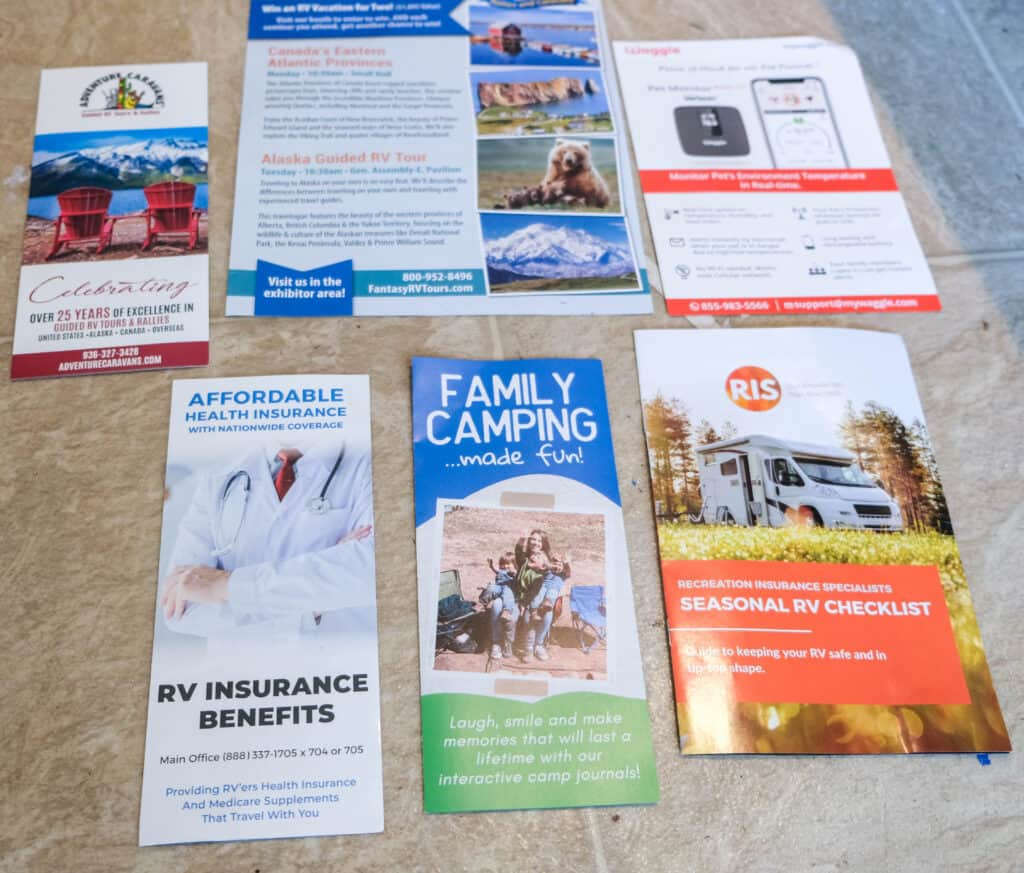 samples of brochures for rv or camping vendor show