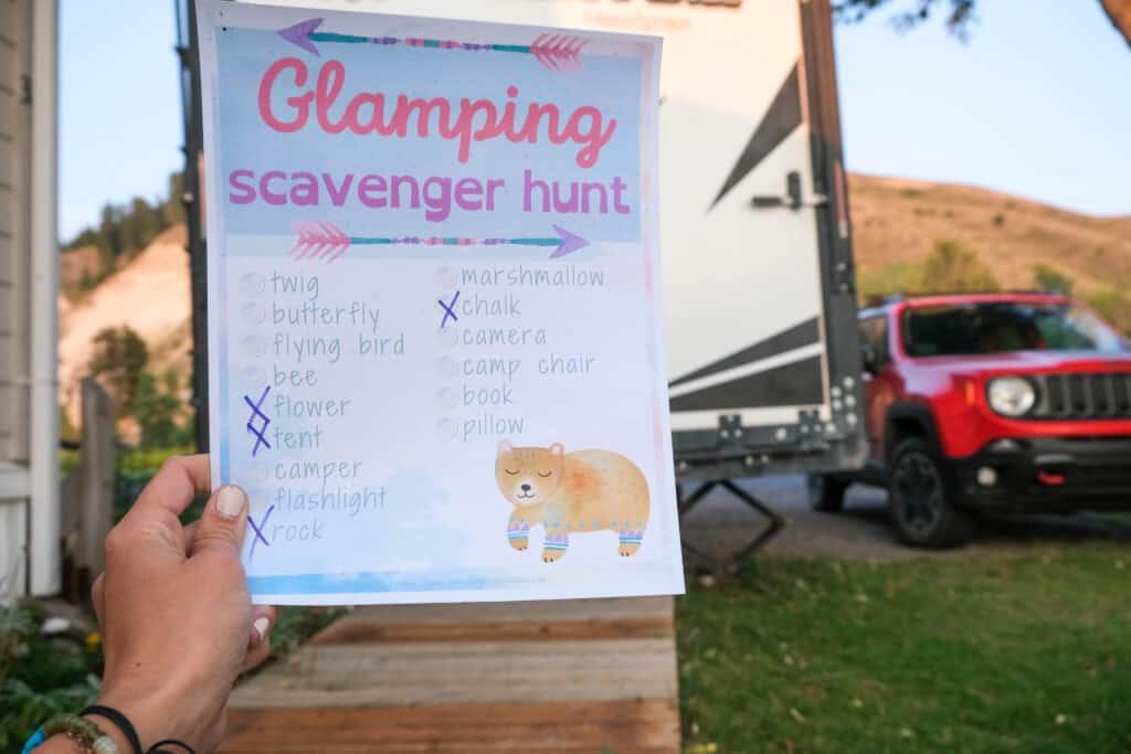 glamping themed scavenger hunt for girls girl scout camp