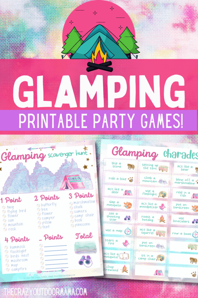 glamping printable party games