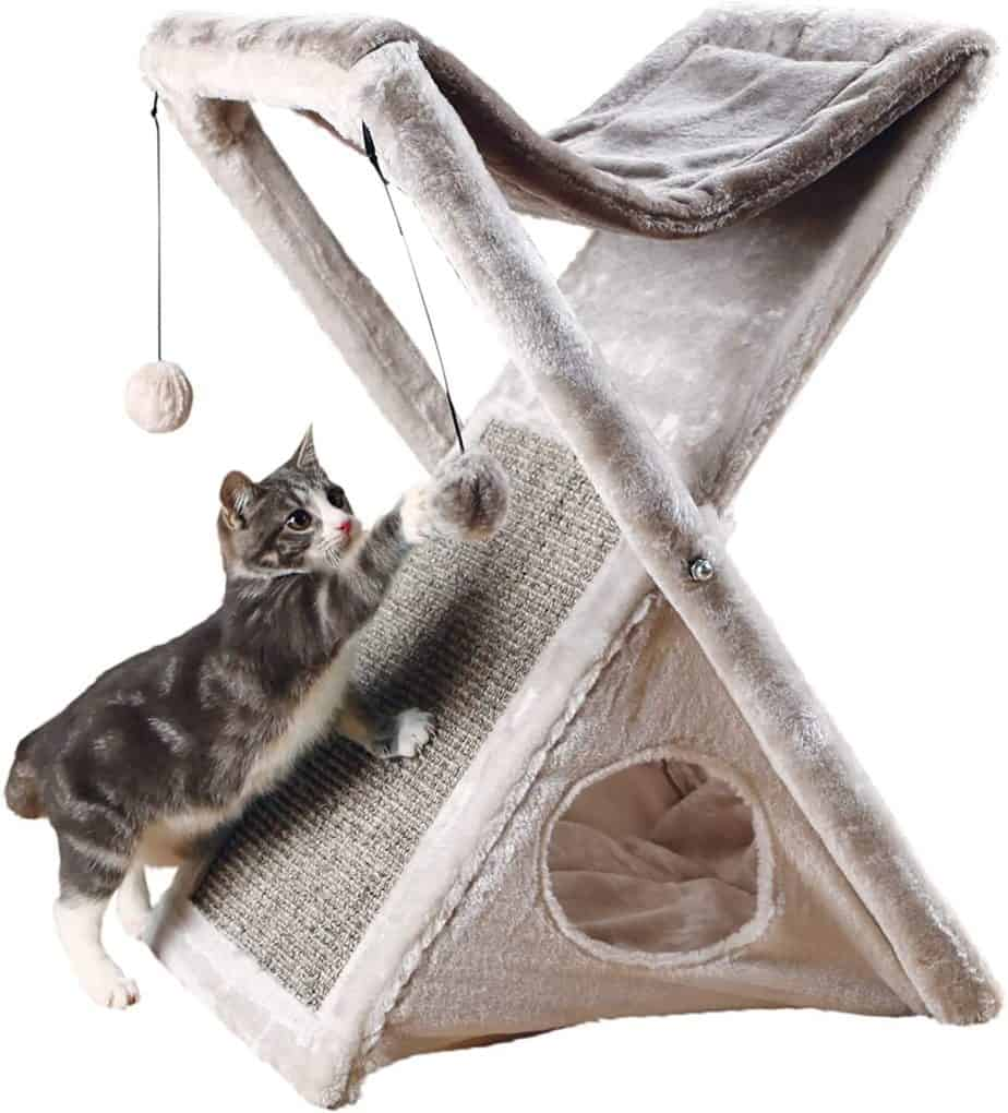 portable fold and store cat hammock and scratching post for rv