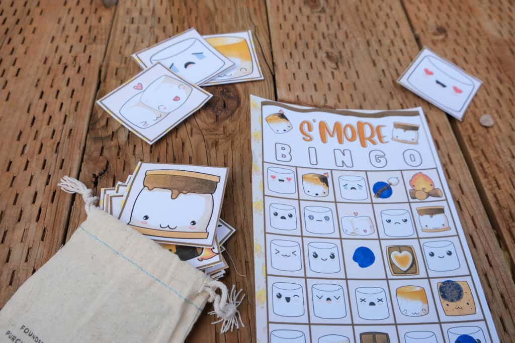 s'more themed printable camping game
