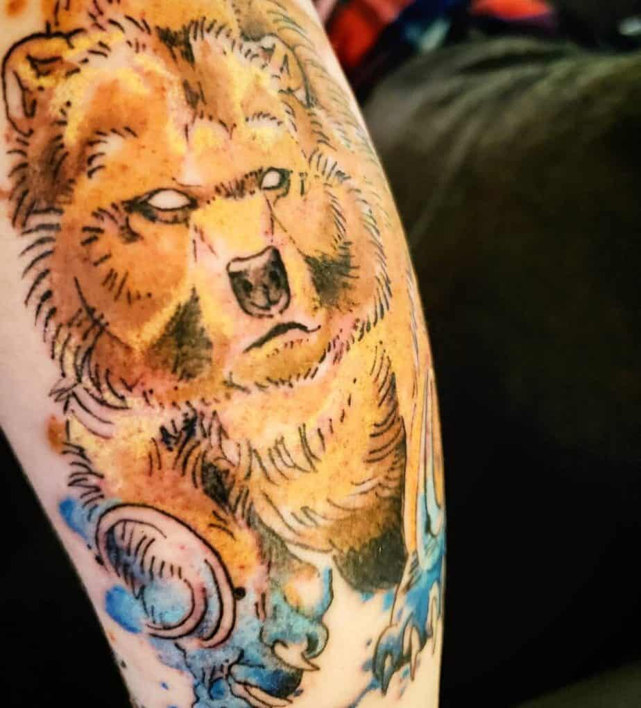 color ancestral bear tattoo