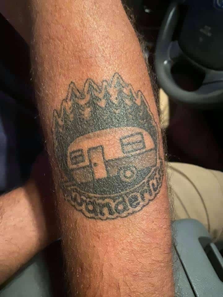 black and white camper tattoo wanderlust