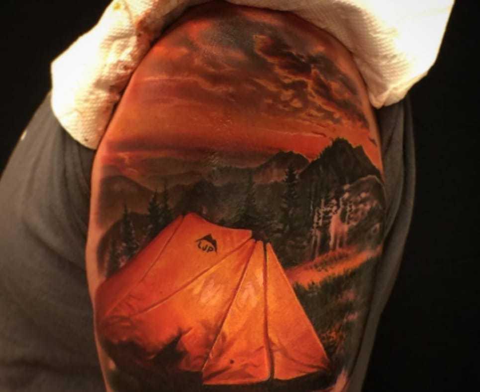 color tent tattoo shoulder