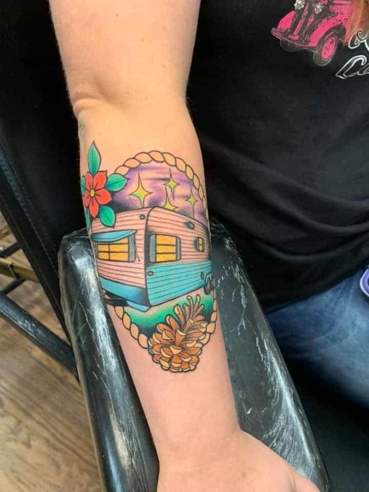 color vintage camper tattoo forearm