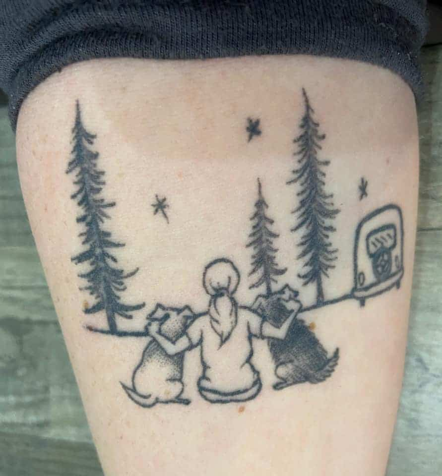 dogs and camper simple black and white tattoo
