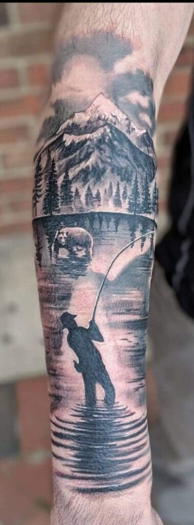 fishing scene with bear black and white landscape tattoo realistic on  arm