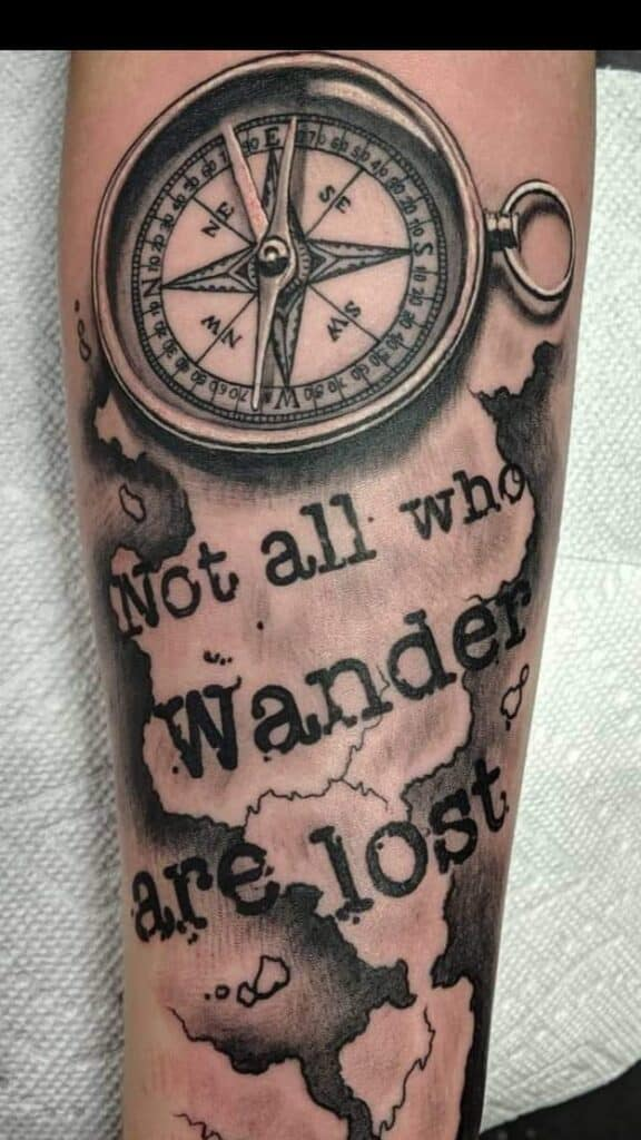 not all who wander are lost black and white compass tattoo