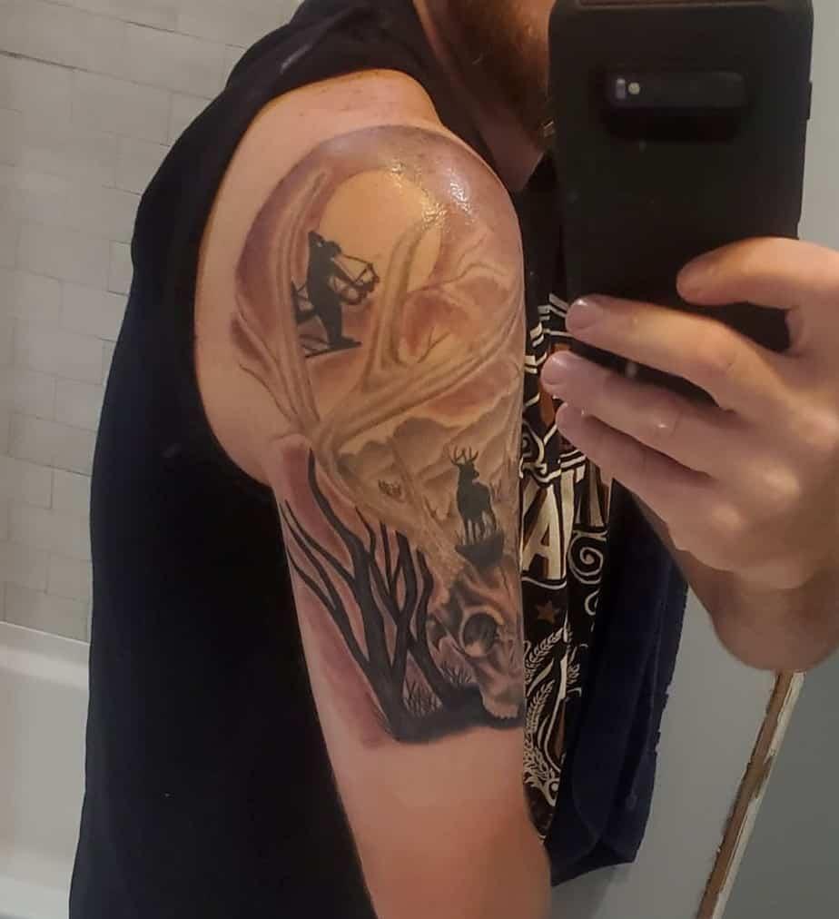 bow hunting deer tattoo shoulder mens