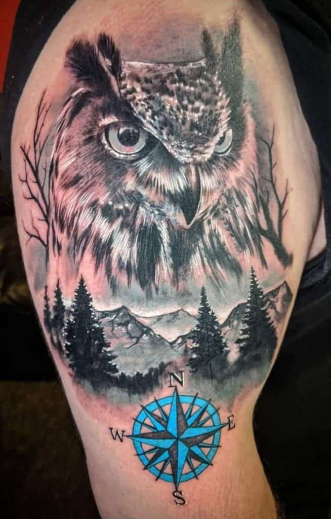 owl and compass