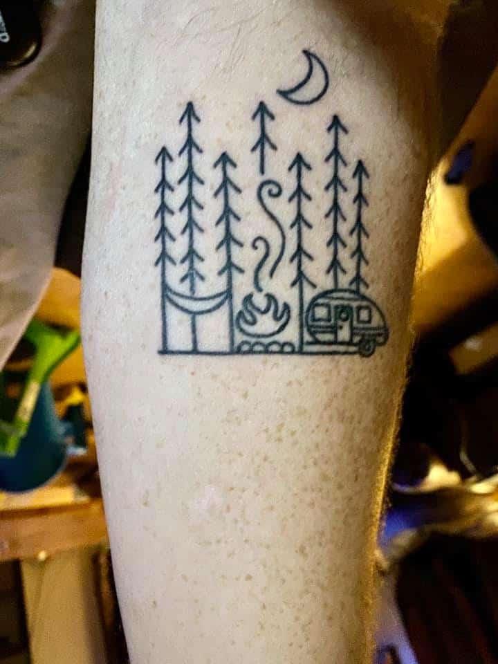 black and white minimalist camper tattoo simple