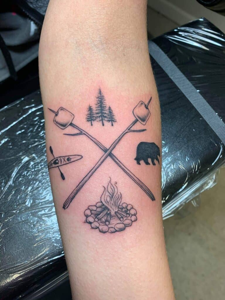 minimalist camping tattoo