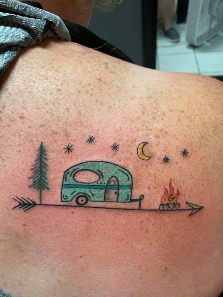 minimal rv camper tattoo shoulder