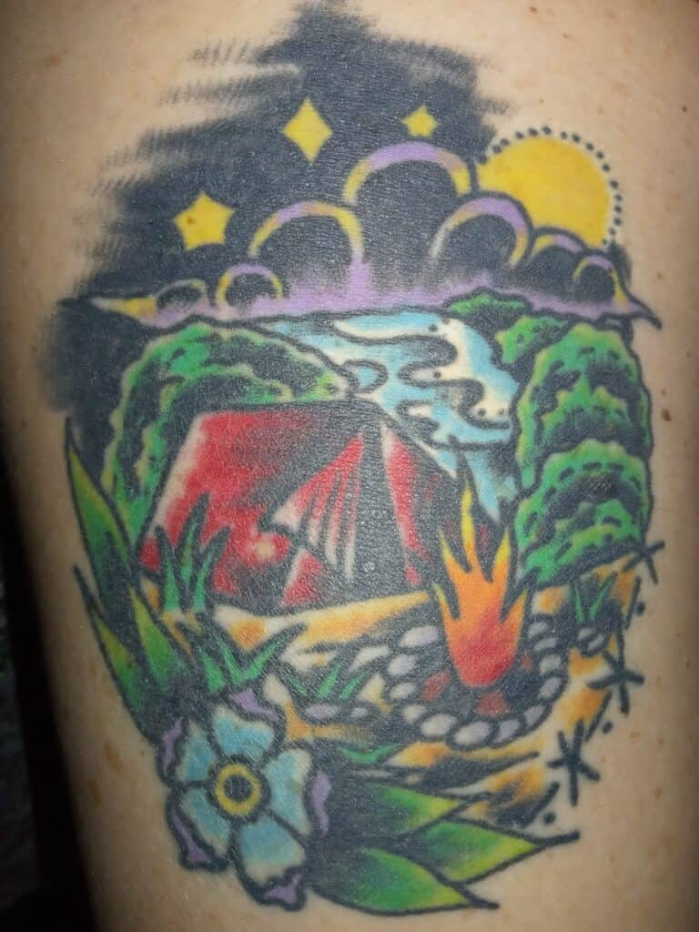campfire tattoo with tent