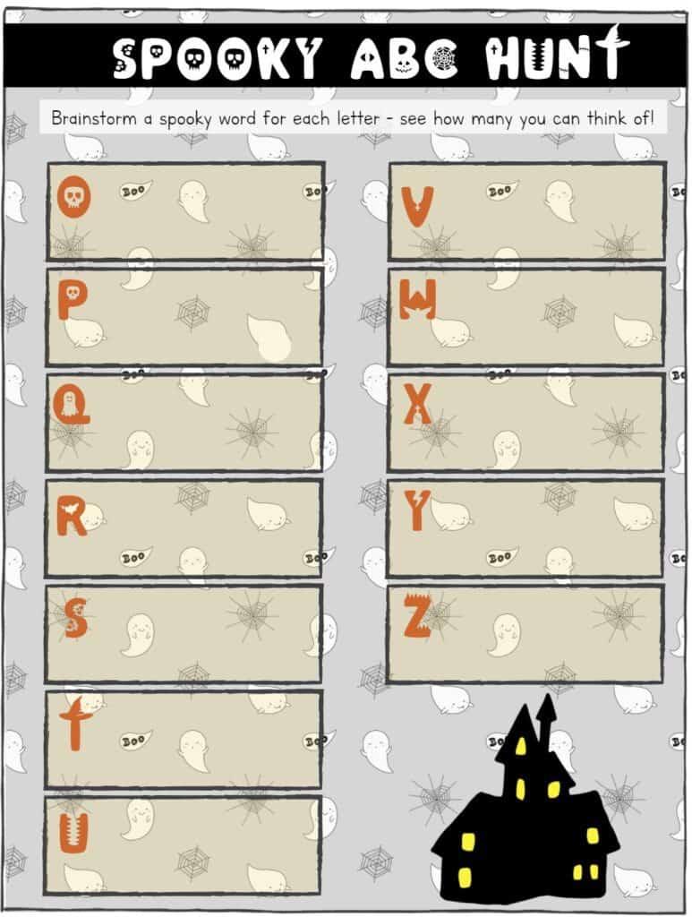 printable educational halloween scavenger hunt for alphabet