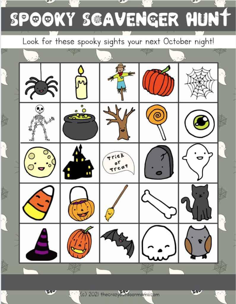 printable neighborhood halloween scavenger hunt for kids
